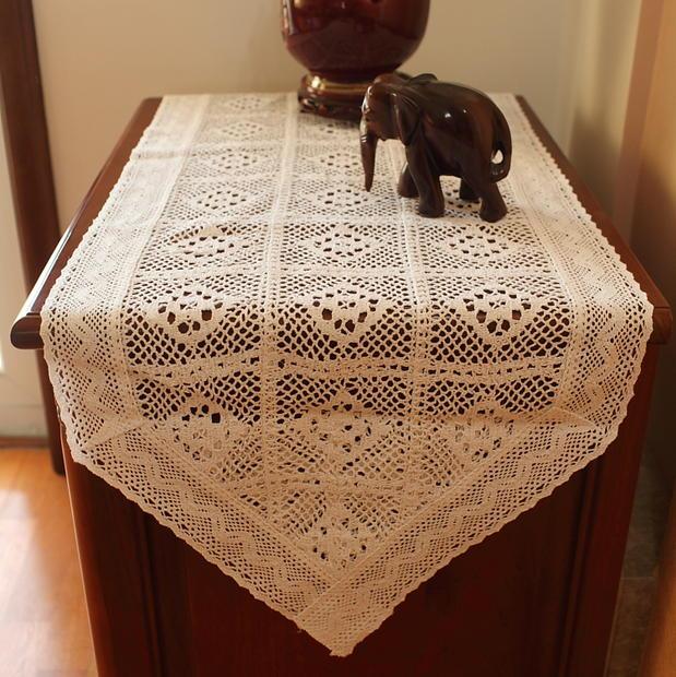 1 قطعة العلم الجدول الأمريكي القطن الكروشيه tablecloth مفرش المائدة غطاء خزانة منشفة كريم بلون الجوف خارج الجدول العلم