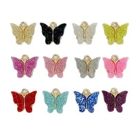 10pcs flashing 13x13mm trendy alloy butterfly setting acrylic charms handmade animal pendants diy jewelry accessories wholesale