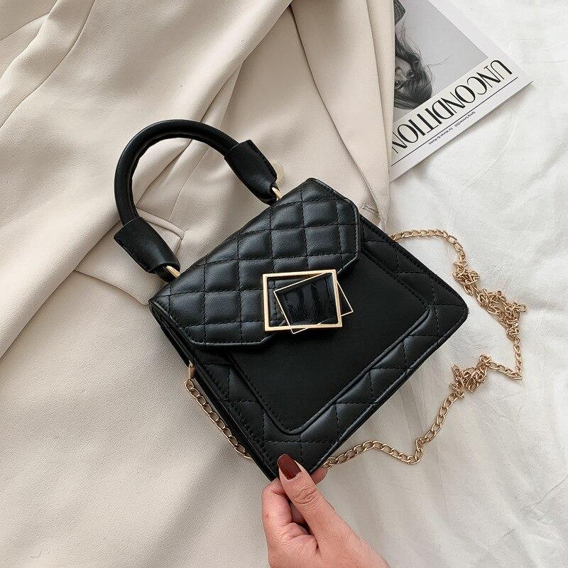 منقوشة بولي Plaid حقيبة جلدية Crossbody للنساء 2021 وصفت سلسلة مصمم الكتف حقيبة يد فاخرة المرأة الاتجاه حقيبة اليد كيس فام