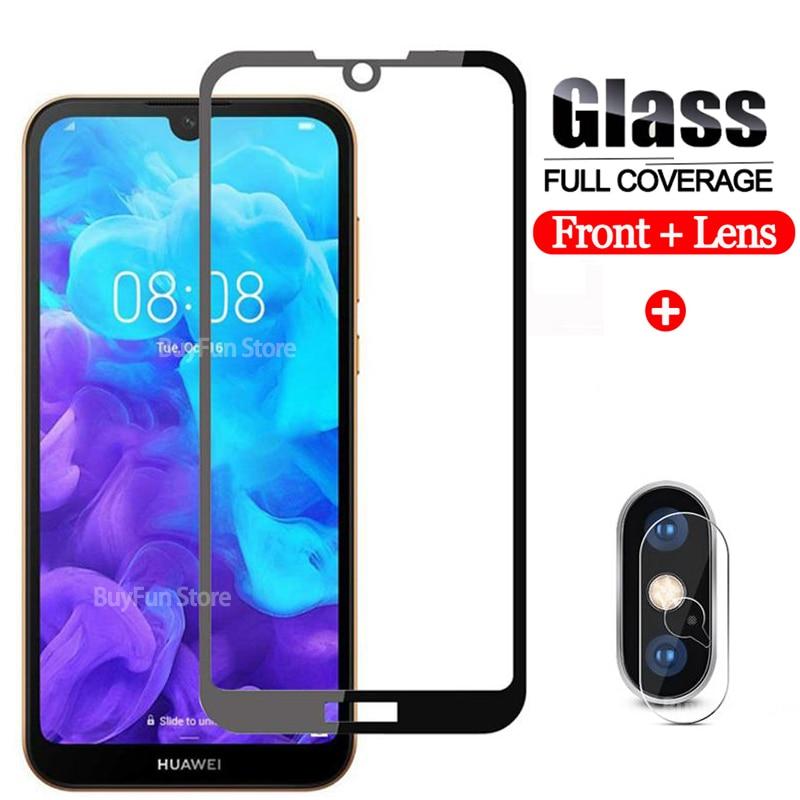 Cristal frontal 2 en 1 + lente de cámara, cristal templado suave para Huawei Y5 Y7 Y6 Y6s 2019, película protectora de pantalla Y 5 6s 7, cristal Protector