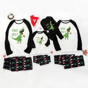 Christmas Family Pajamas Set Adults Children Pajamas Home Service Solid Color Dinosaur Printing Happy Christmas Pajamas Set #5B