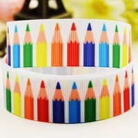 22mm 25mm 38mm 75mm colored pencil cartoon printed grosgrain ribbon party decoration 10 yards x 03449