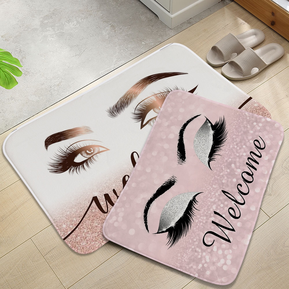 Anti-slip Absorb water Bath mat  Cartoon eyelash Bathroom kitchen bedroon floor mat Entrance kids prayer mat 40*60cm 0050