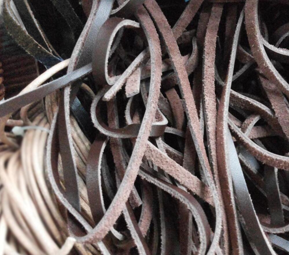 DIY cuerda de joyería esencial 4mm Cordón de cuero plano, tira de cuero de 5 metros, cuerda de cuero marrón genuino plano,