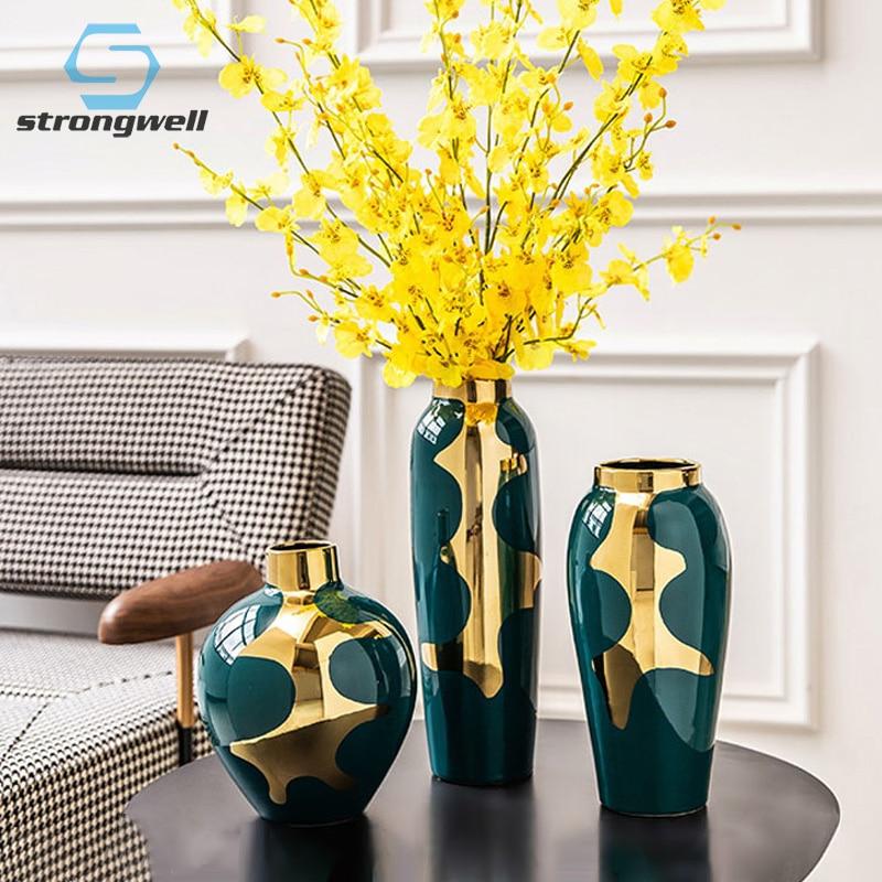 Strongwell 現代のミニマリストの高級セラミック花瓶工芸家のリビングルームのインテリアダイニングテーブル花花瓶オフィスの装飾