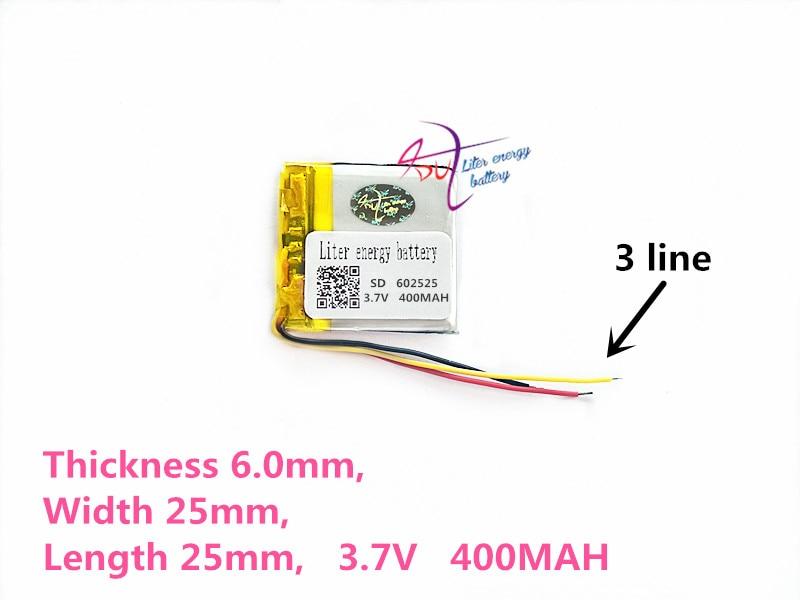 3 líneas 602525 3,7 V 400mAh 552525 polímero de litio li-po Li ion pilas recargables para Mp3 MP4 MP5 GPS bluetooth móvil