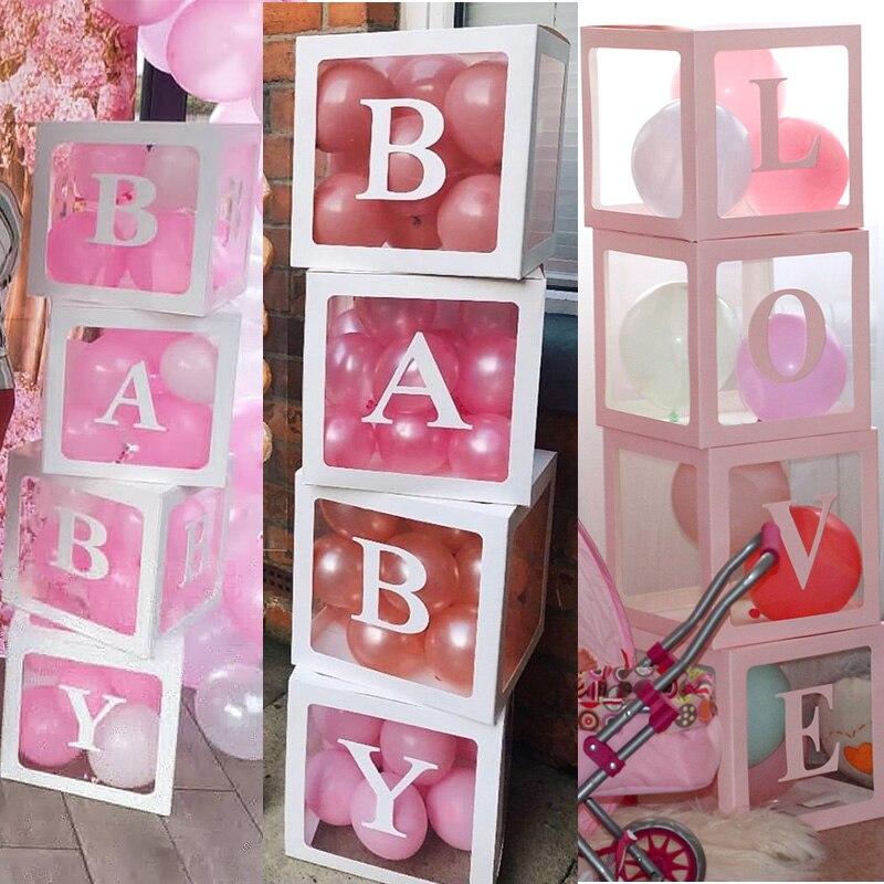 Cyuan Transparent Ballon Box Blöcke Latex Ballon Boxen Hochzeit Ballon Box Hochzeit Geburtstag Party Decor Baby Dusche Liefert