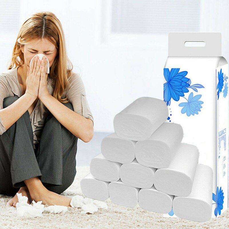 12 Roll Strong Soft 4-Ply Toilet Paper Bath Tissue Bulk Roll Skin-friendly
