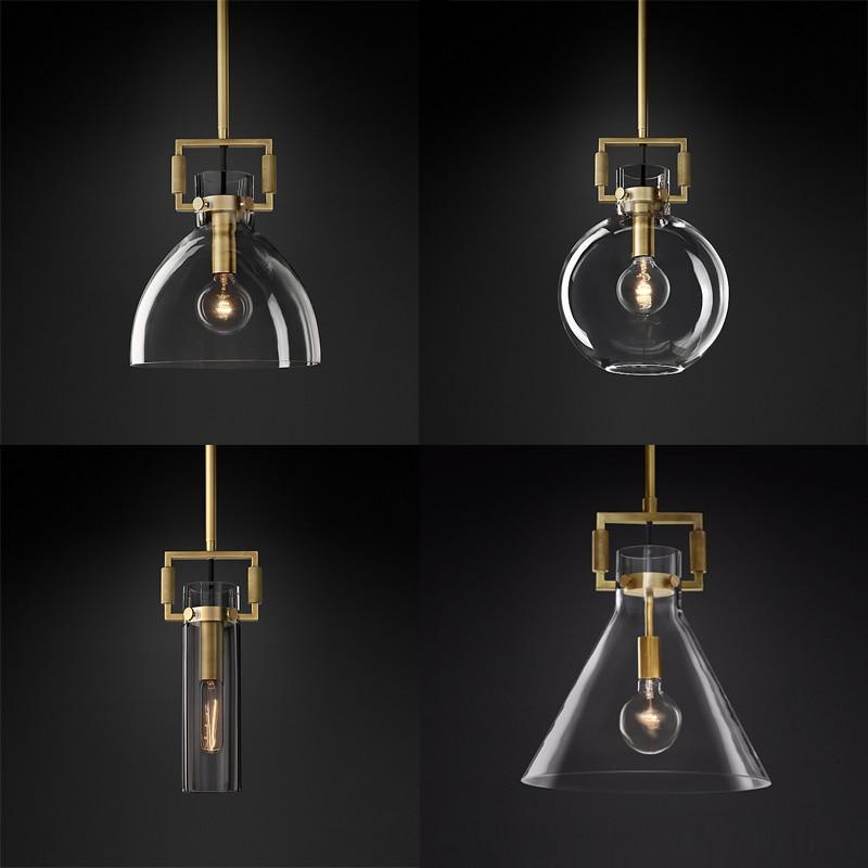 الأمريكية RH مصباح اديسون E27 قلادة LED ضوء معدن الذهب قلادة Led مصباح Indor الإضاءة قابل للتعديل Droplight شنقا مصباح
