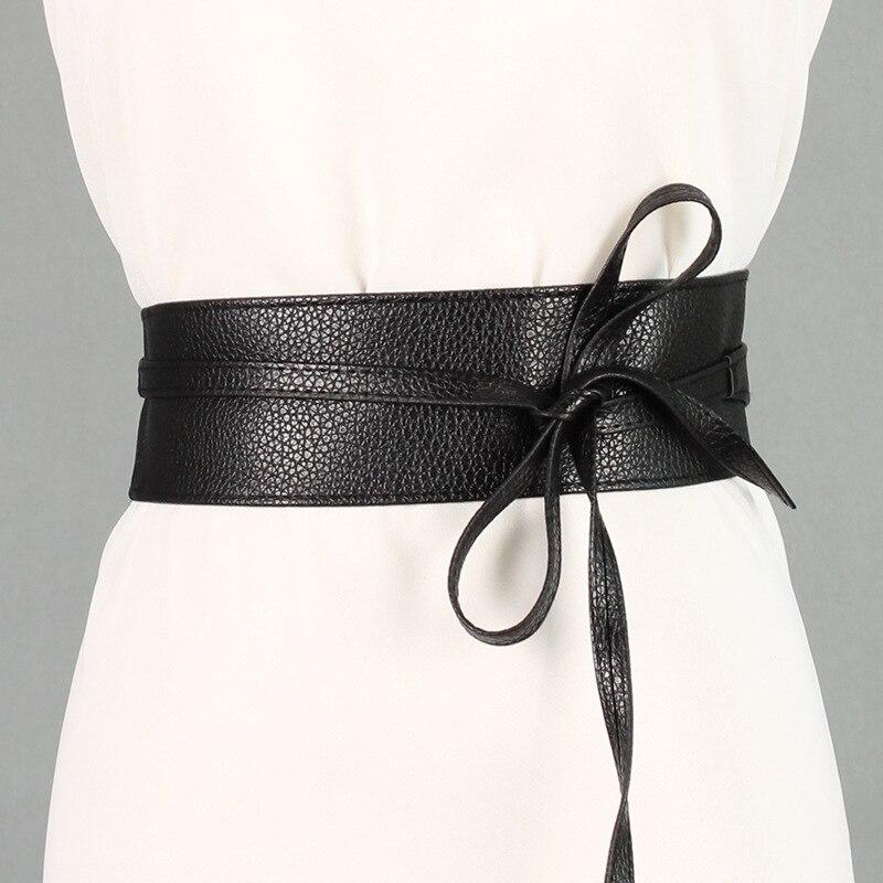 New Spring Elegant Women Fashion Color Soft Faux Leather Wide Belt Self Tie Wrap Around Waist Band Dress Belt surplice wrap tie waist stripe dress