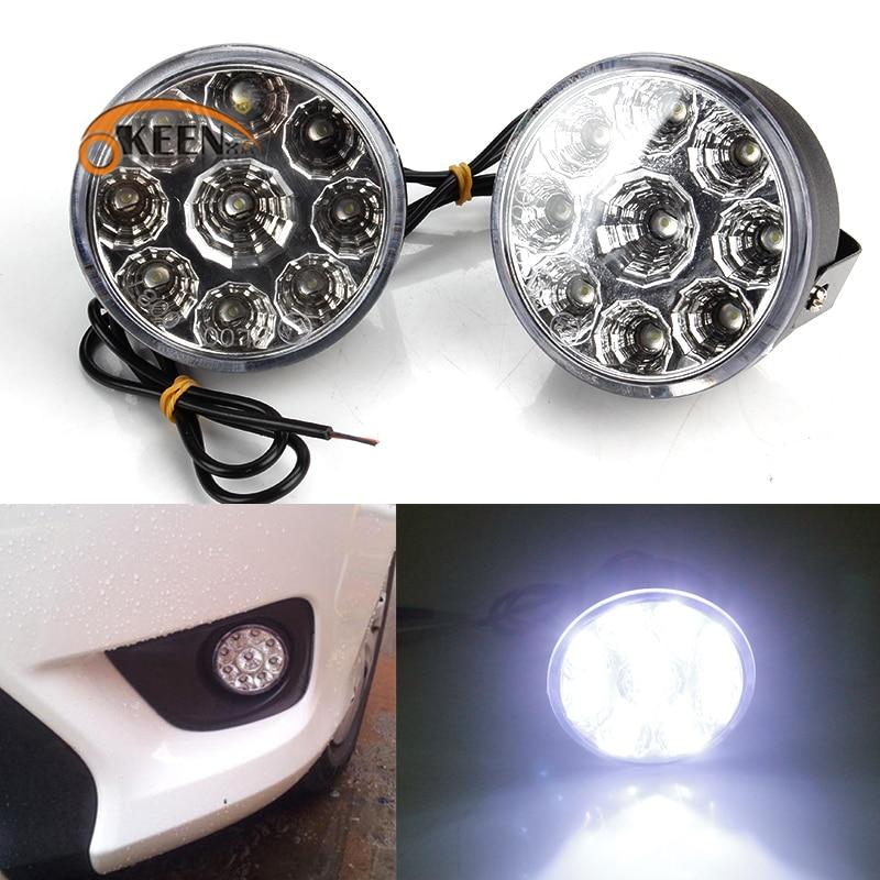 2 pçs 9w 9led drl redondo carro nevoeiro lâmpada 12v branco condução led luzes diurnas led super brilhante cabeça luz à prova dwaterproof água