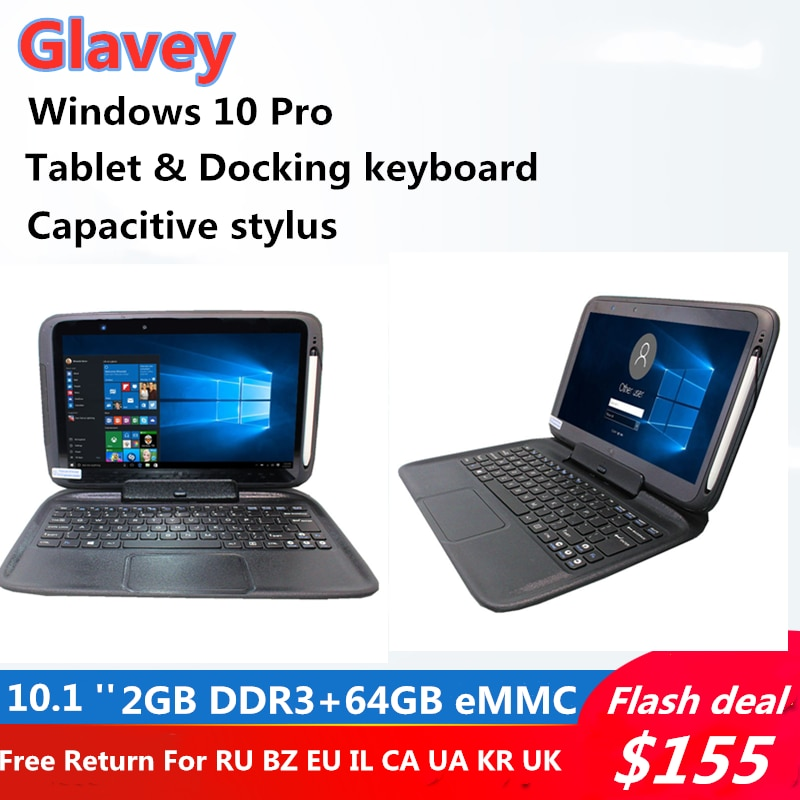2G+64G 3E 10.1 INCH TabletPC Windows 10 ProWith Docking Keyboard &Touching Pen1366*768 IPS screen Dual Camera HDMI-Compatible