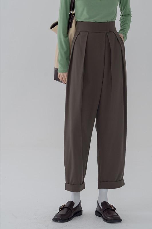Повседневные Костюмные брюки, женские прямые свободные узкие брюки с высокой талией для ранней осени