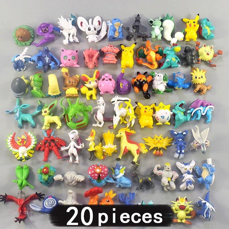 20 piezas 4cm de tamaño mediano todo tipo de juguetes de acción figuras en miniatura de juguete colección Pokemon para regalo de niños