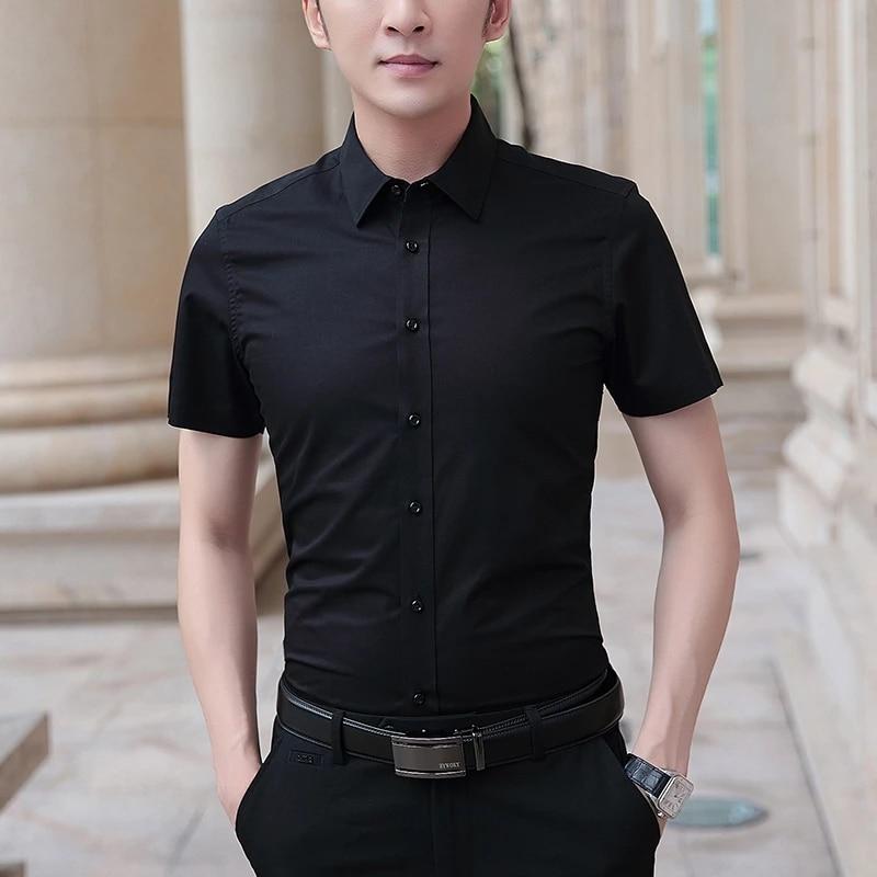 2021 قميص رجالي جديد بأكمام قصيرة قميص رجالي الأعمال سليم بلون