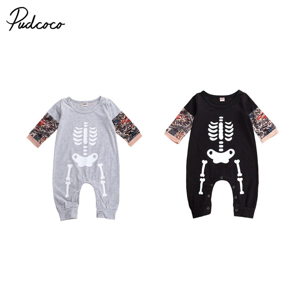 2020 nuevo Mono de bebé Halloween moda novedosa tatuaje esqueleto Halloween manga corta cuello redondo algodón Romper ropa de bebe