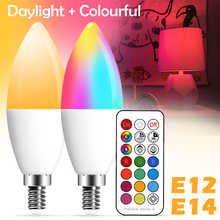 E14 LED Smart Bulb Candle Color Indoor Neon Sign Light Bulb RGB Tape With Controller Lighting 220V E12 Dimmable Lamp For Home