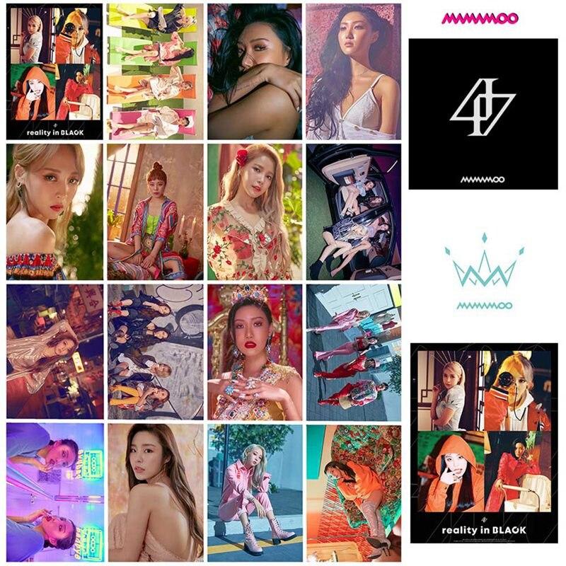 16 pçs/set mamamoo álbum realidade em preto feito em papel lomo cartão foto cartão, fotos, fãs, presente, coleção