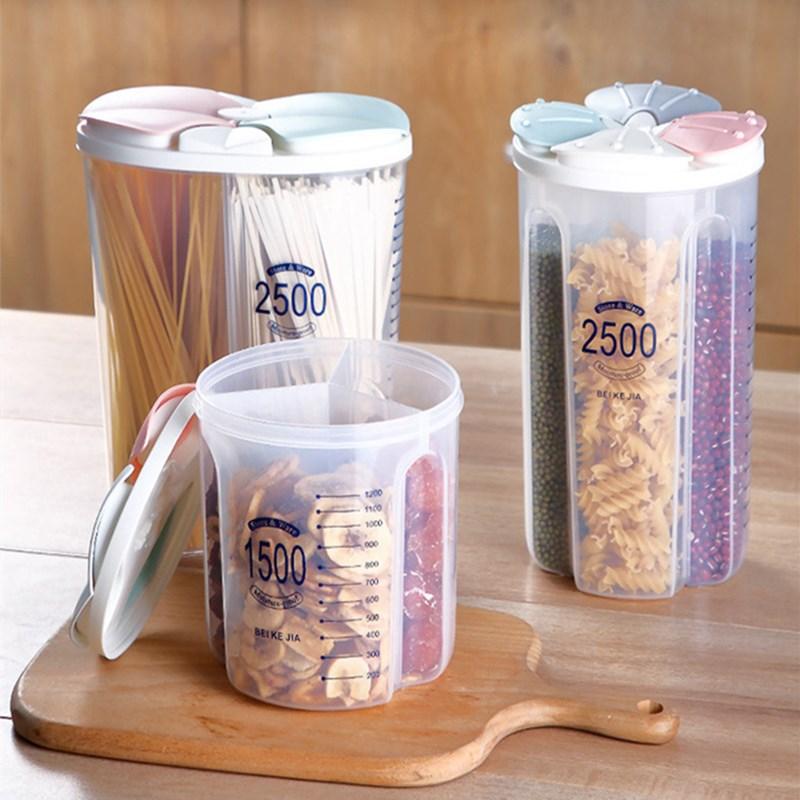4Grids Kunststoff Küche Getreide Spender Speicher Box Rotierenden Trockenen Lebensmittel Reis Container Lagerung Fall Mehl Getreide Lagerung Flasche Jar