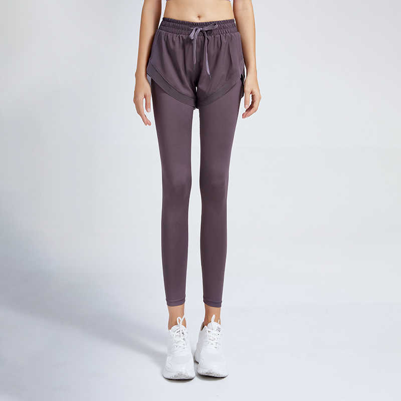 Fake Two-Piece Fitness Pants Women's Slimming and Tight Trousers Running Stretch Hip Lift Sports Pan