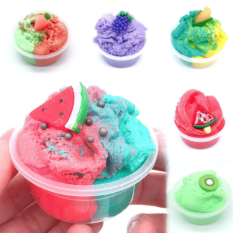 2018 hot sale fruit slices soft scented stress relief toy sludge scented stress kids clay slime toys interesting toys gift bill 60ml Cloud Slime Glue Scented Fluffy Slime Fruit Soft Clay Supplies With Cute Charm Stress Relief Toy Kit Set For Kids Non-stick