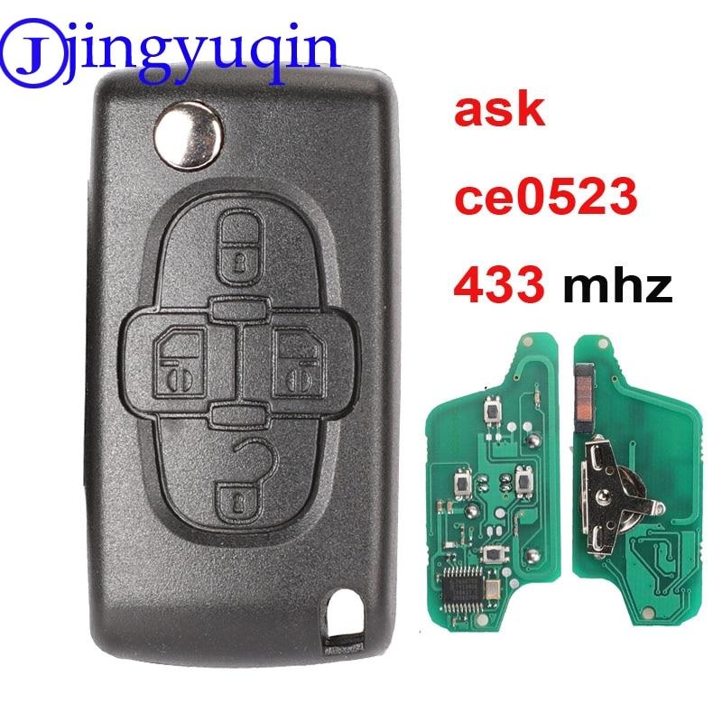 Mando a distancia para coche jingyuqin 4b 433mhz para Peugeot 207 307 308 407 Citroen C2 C3 C4 C5, carcasa abatible para llave CE0523 plegable