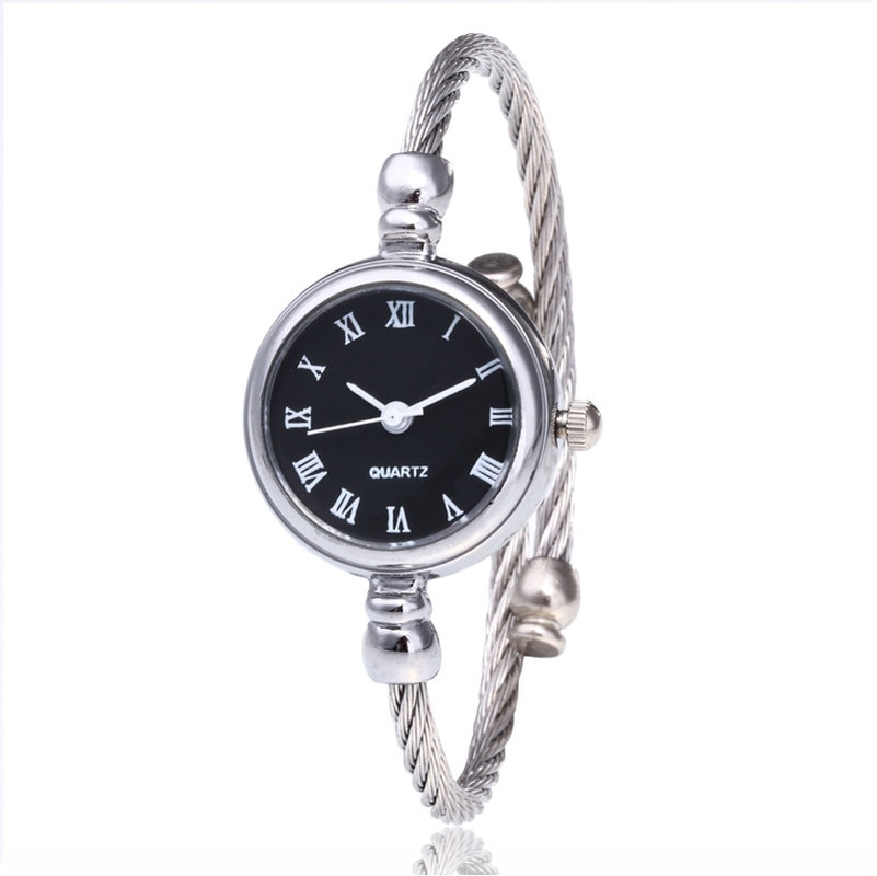 Fashion Bangle Watch Luxury Vintage Silver Women Dress Watch Casual Quartz Titanium Alloy Band Brace