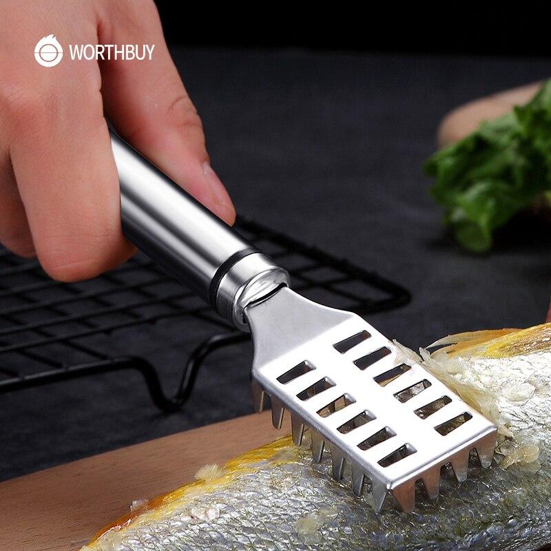 WORTHBUY Manual de escalador de pescado removedor Acero inoxidable raspado de escamas de pescado cuchillo para restaurante accesorios de cocina utensilios para marisco