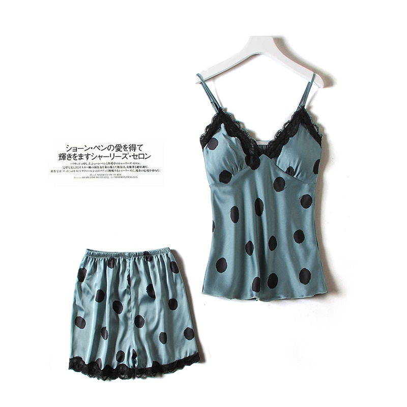 Pajamas Women's Summer Sexy Suspender Shorts Two-Piece Set Dotted Prints Thin Ice Silk Vest with Che