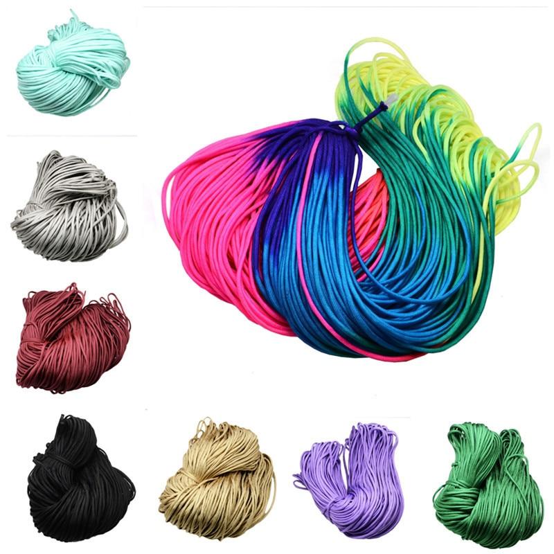 2mm 4mm environ 100m/bundle aléatoire escalade cordes cordon de fil pour la fabrication de bijoux bricolage perles colorées cordes en Nylon