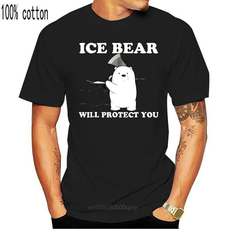 New NEU Ice Bear Will Protect You Cute Funny Black T-Shirt S-3XL