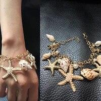 1pc fashion star conch shell bracelet bangle charm multi element bracelet for women jewelry summer style beach best gift