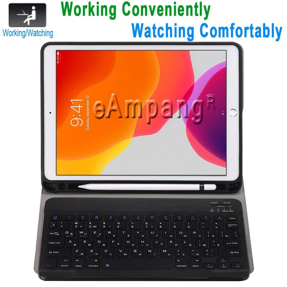 Funda con teclado ruso para Apple iPad 10,2 2019 7 generación A2197 A2200 A2198 A2232 funda con teclado para iPad 10,2