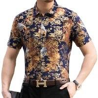2021 fashion summer short sleeve mens clothing hawaiian gold bronzing print shirt for men shirts streetwear jerseys dress 1036