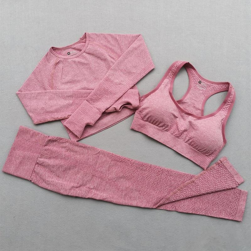 Yoga feminino conjunto vital sem costura leggings sutiã esportivo + manga longa colheita superior + correndo ginásio de cintura alta leggings fitness esportes terno