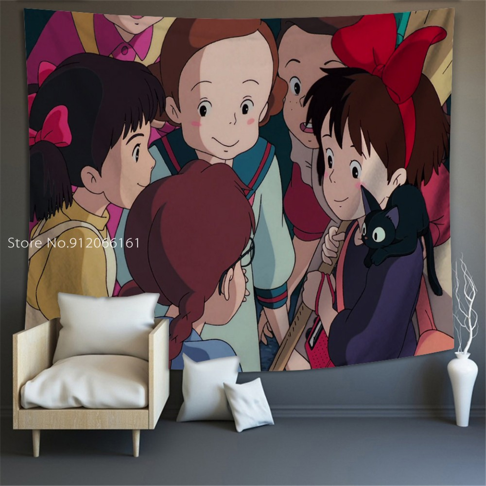 Kikis Delivery Service Wall Tapestry Room Decoration Bedspread Live Background Cloth Anime Printing Home Large Size