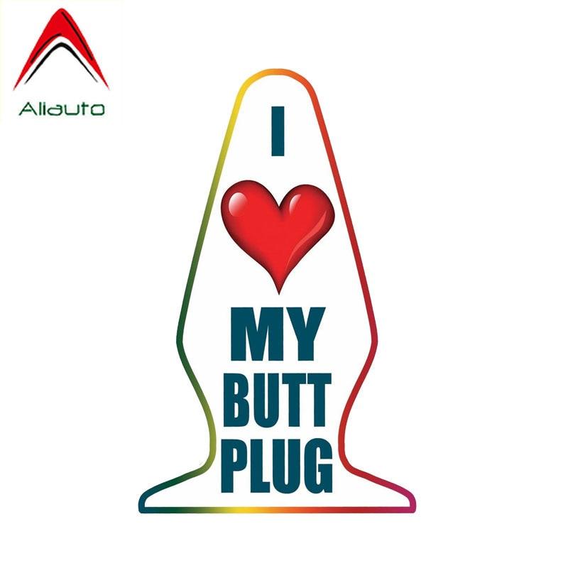Pegatina de coche creativa divertida Aliauto Me encanta mi Butt Plug protector solar impermeable etiqueta Anti uv PVC decoración, 9cm * 15cm