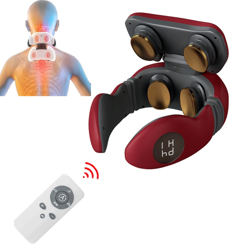 Remote Neck Massager With Heat Electric LCD Display Cervical Vertebra Shoulder TENS Massage Pain Relief Relaxation Health Care