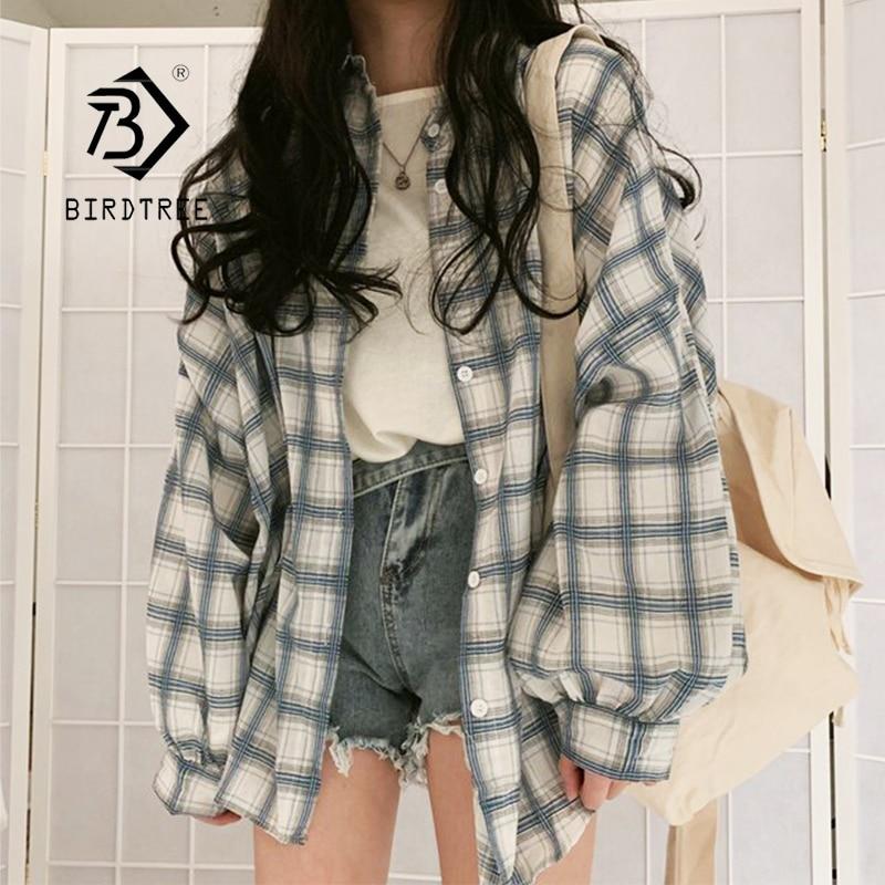 Autumn New Women Vintage Plaid Oversized Blouse Lantern Sleeve Turn-Down Collar Spring Shirts Button Up Casual Korean Tops T0930