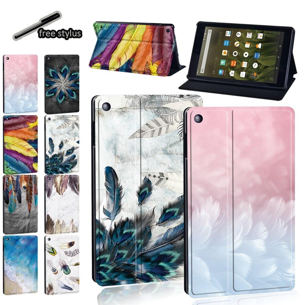 Чехол для планшета Amazon Fire 7 (5/7/9)/HD10(5/7/9)/Fire HD 8 Plus/HD8 (10/6/7/8) рисунок серии печати + Бесплатный стилус