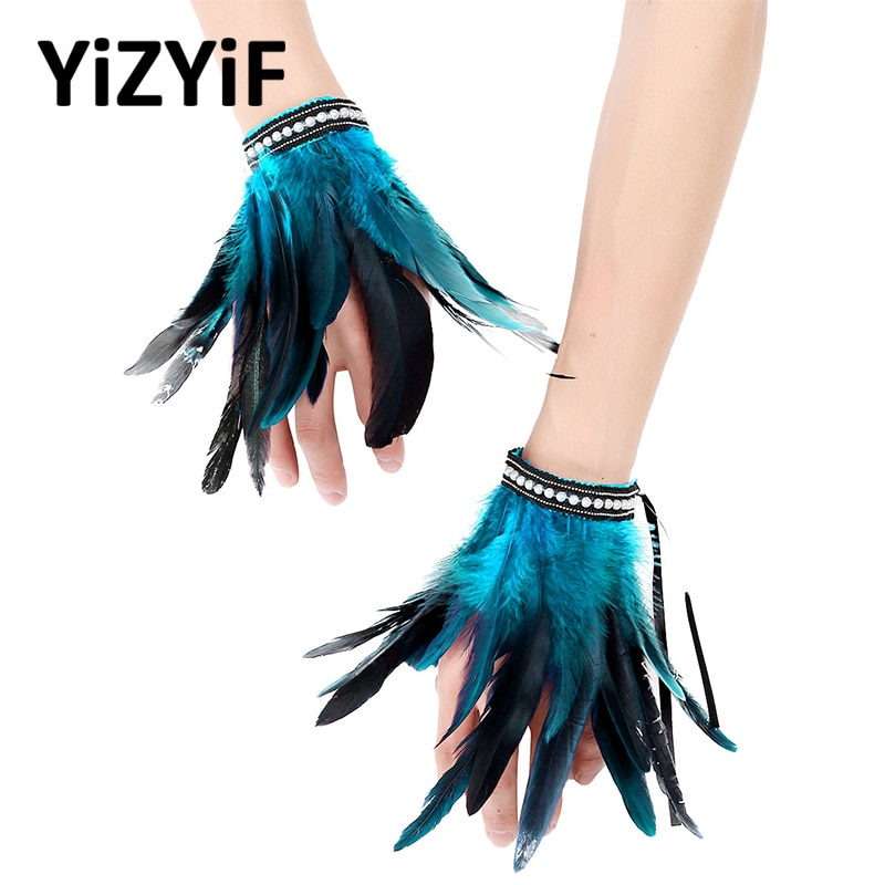 Feather Wrist Cuffs Arm Cuffs Gothic Punk Faux Pearl/Lace Real Natural Dyed Rooster Feather Wrist Cuffs Party Halloween Costume faux feather and lace detail sleep romper