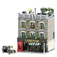 classic london lion pub music coffee citys house street series kit model building block 5801pcs moc toy diy model for gifts