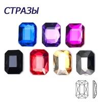 100pcs glass diamond flatback nail art glitter rhinestones octagon diy manicure crystals 3d nail art accessories decoration