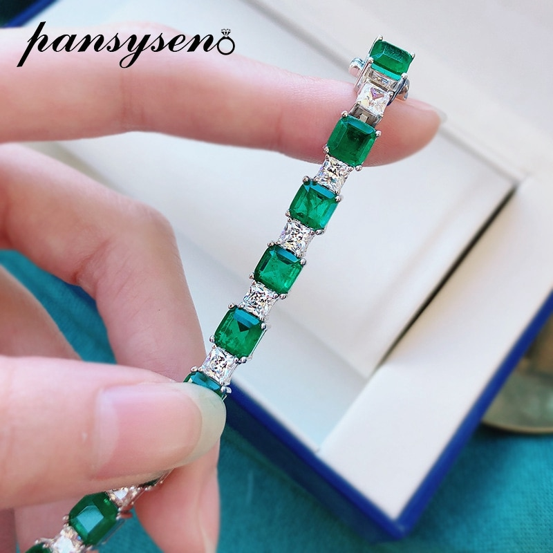 PANSYSEN Vintage Solid 925 Sterling Silver 7MM Emerald Simulated Moissanite Diamond Charm Women Bracelet Fine Jewelry Wholesale