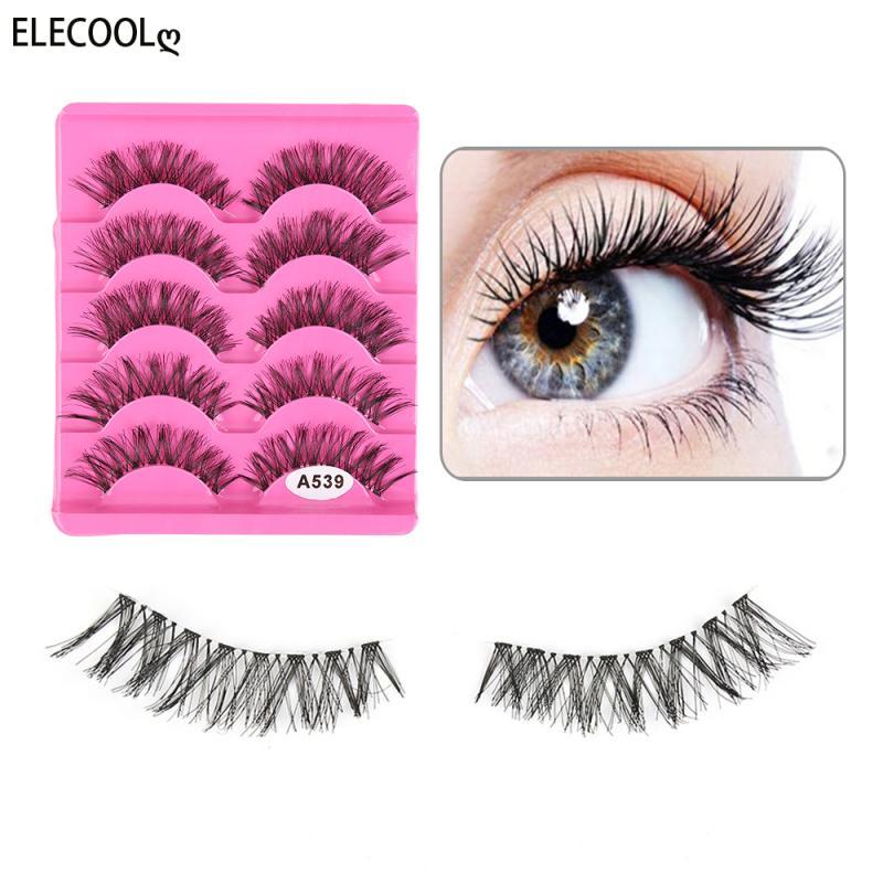 ELECOOL 5 Pairs New Fashion Women Soft Natural Long Cross Fake Eye Lashes Handmade Thick False Eyela