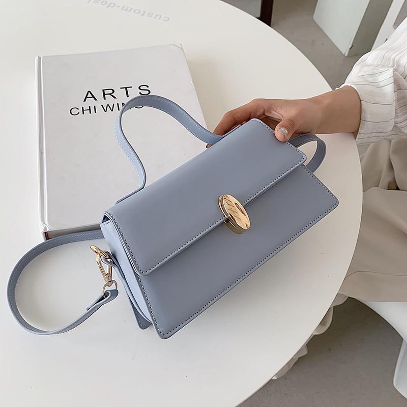 High Quality Soft Waterproof Pu Leather Shoulder Bag for Women 2021 Designer Solid Color New Fashion