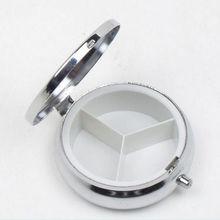 1 Pcs 3 Mobiele Ronde Pil Dozen Zilveren Metalen Geneeskunde Tablet Houder Voordelig Container Pil Case Kleine Case