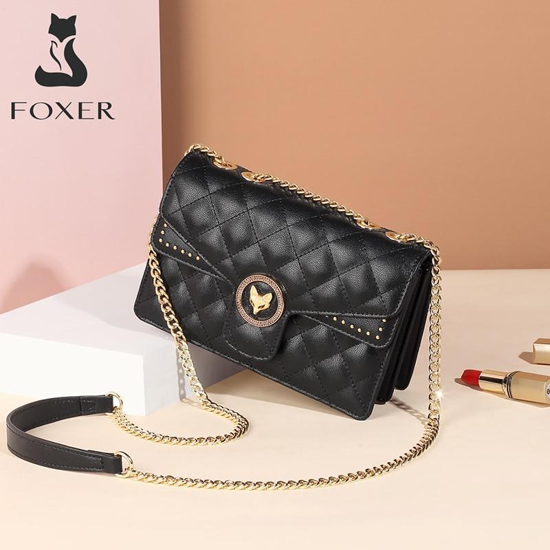 FOXER جلد البقر العلامة التجارية المرأة حقيبة الكلاسيكية الماس شعرية حقائب كتف متنقلة لسيدة الموضة الصغيرة Crossbody محفظة حقيبة