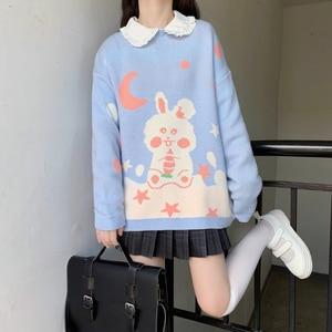 Autumn Winter Japanese Cute Soft Girl Rabbit Lolita Knitting Pullover Top Baby Doll Sweet Kawaii Core Spun Yarn Sweater Clothing