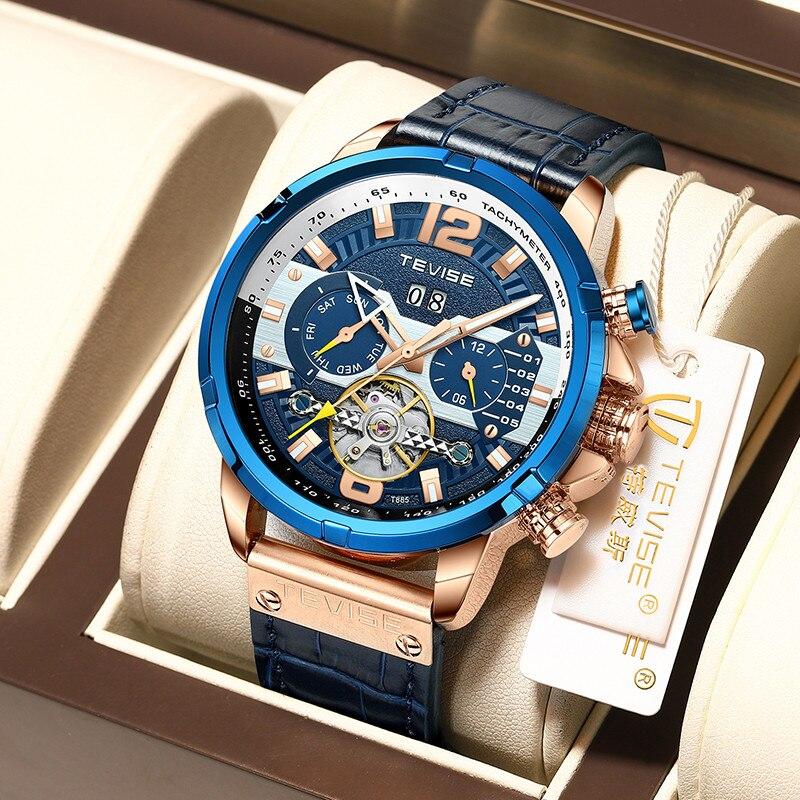 Relógios para Homens Marca de Luxo Relógio de Pulso Masculino + Caixa Tevise Casual Esporte Máquinas Moda Azul Topo Militar Couro Automático